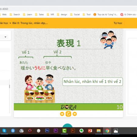 Giao diện lớp học trực tuyến N3 bản PC